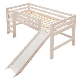 infanskids halbhohes bett mit gerader leiter und rutsche 90x200 cm versandkostenfrei. Black Bedroom Furniture Sets. Home Design Ideas