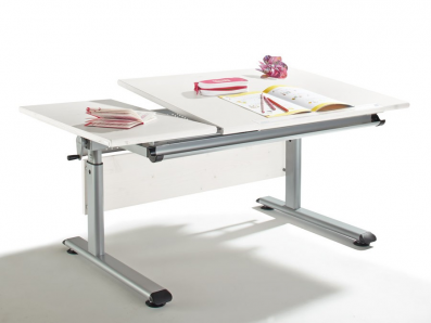 PAIDI MARCO 2 130 GT, GeTeilt, Schreibtisch 130 x 70 cm, diverse Ausführungen, Gestell silberfarbig, VERSANDKOSTENFREI Eiche Nachbildung, Gestell silber