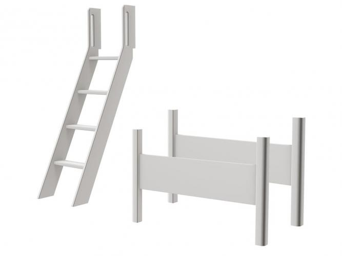 flexa white schr gleiter mit anti rutsch stufen und griffen und pfosten f r mittelhohes bett in. Black Bedroom Furniture Sets. Home Design Ideas