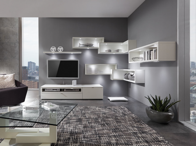 venjakob wohnwand andiamo an45 lack wei matt fachfarbe w hlbar versandkostenfrei. Black Bedroom Furniture Sets. Home Design Ideas