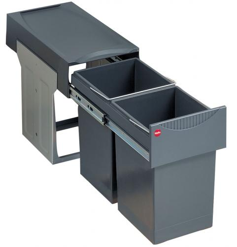 Hailo Tandem Abfallsammler Mülleimer 2 x15 Liter Vollauszug Küchenschrank