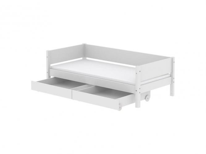 flexa einzelbett white jugendbett wei birke natur mit schubladen. Black Bedroom Furniture Sets. Home Design Ideas