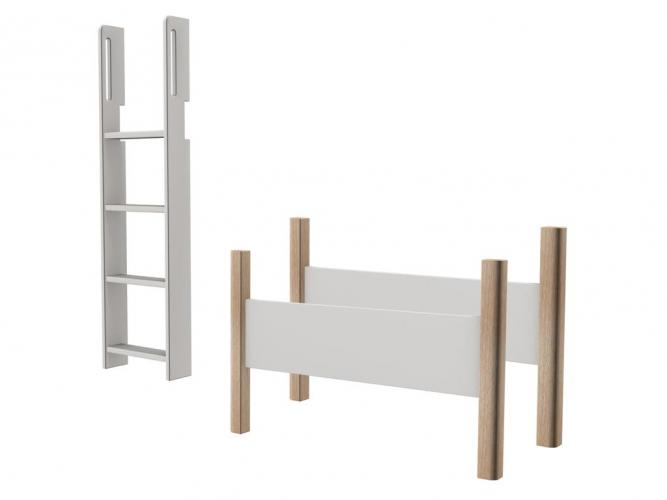 flexa white senkrechtleiter mit anti rutsch stufen und griffen und pfosten f r mittelhohes bett. Black Bedroom Furniture Sets. Home Design Ideas