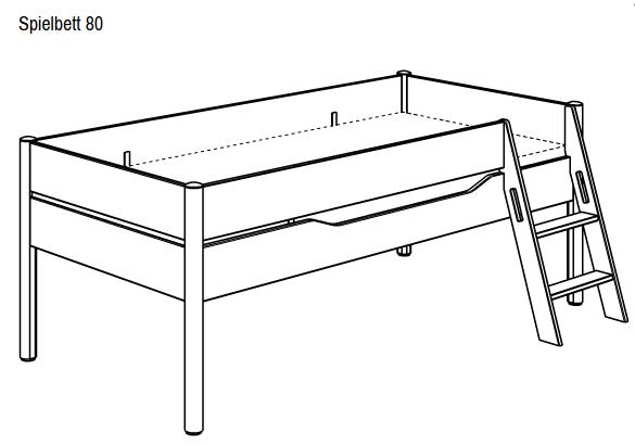 Etagenbett Ylvie : Paidi ylvie spielbett 90 x 200 cm leiter schräg versandkostenfrei