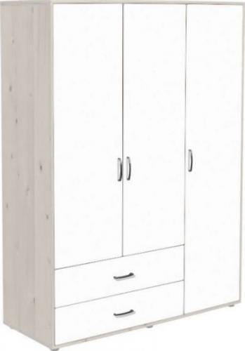flexa classic kleiderschrank mit 3 t ren und 2 schubladen in wei lasiert versandkostenfrei. Black Bedroom Furniture Sets. Home Design Ideas